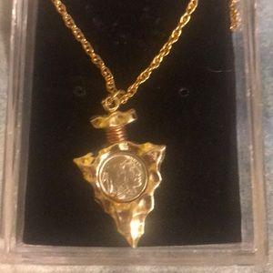 Arrowhead indian nickel necklace